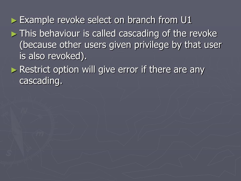 Example revoke select on branch from U1