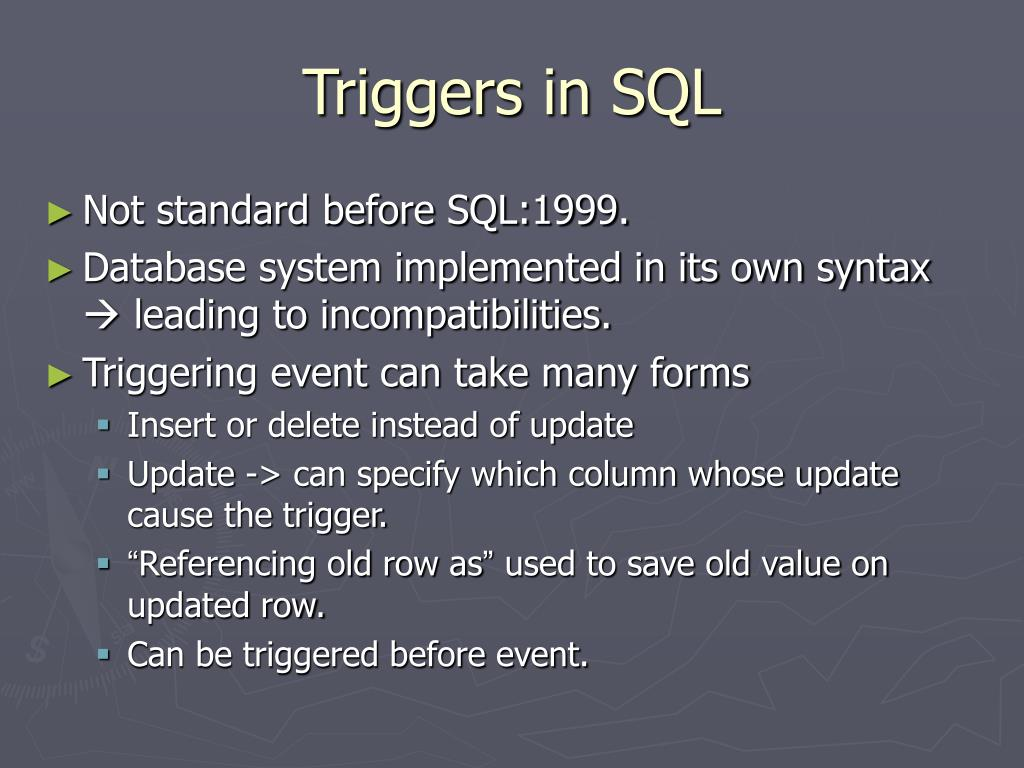 Triggers in SQL