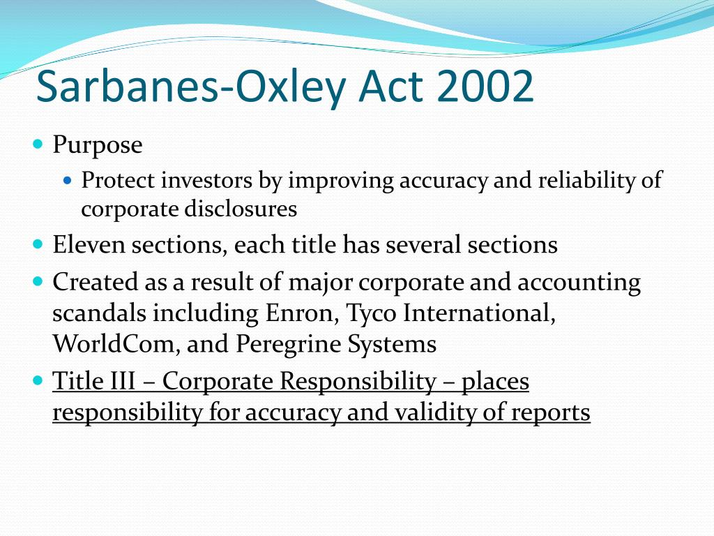 sarbanes oxley act apa format Sarbanes oxley act why public company accounting reform and investor protection act of 2002 response to a number of major corporate and accounting scandals including.