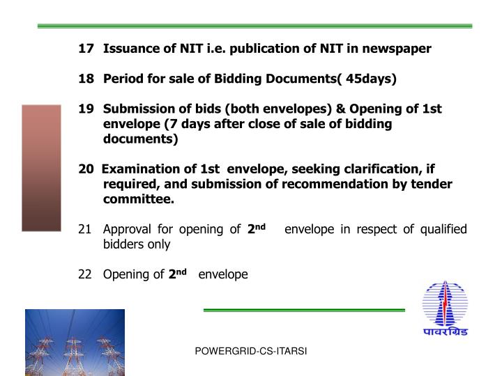 Issuance of NIT i.e. publication of NIT in newspaper