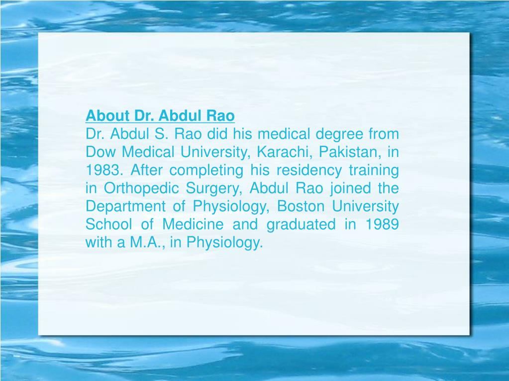 About Dr. Abdul Rao