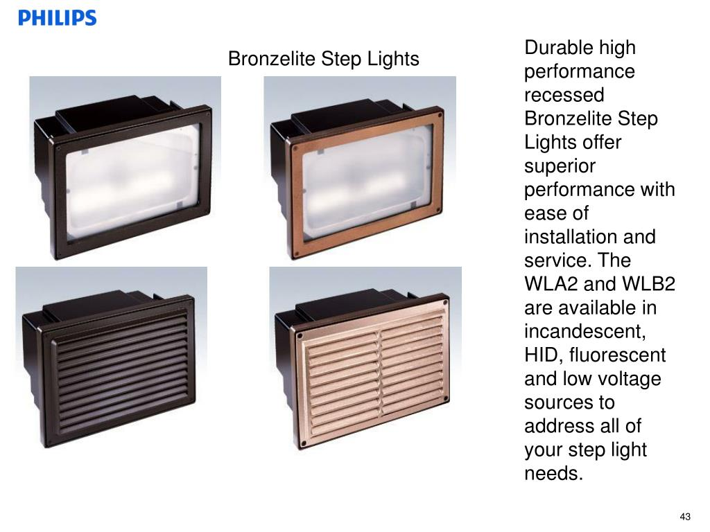 Durable high performance recessed Bronzelite Step Lights offer superior performance with ease of installation and service. The WLA2 and WLB2 are available in incandescent, HID, fluorescent and low voltage sources to address all of your step light needs.