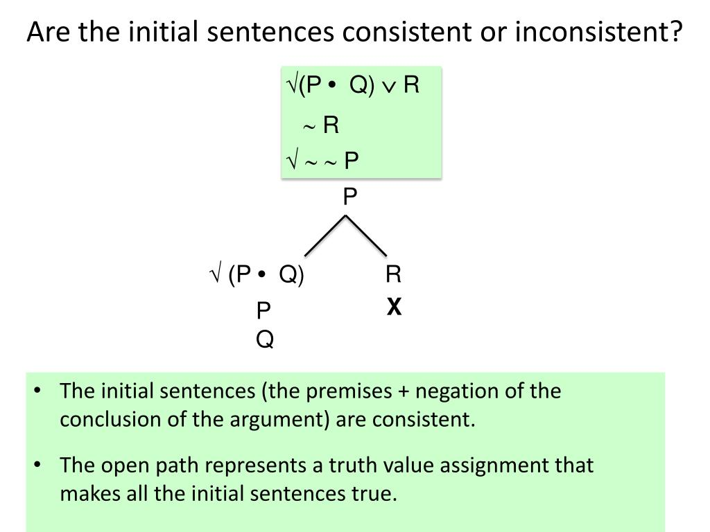 Are the initial sentences consistent or inconsistent?