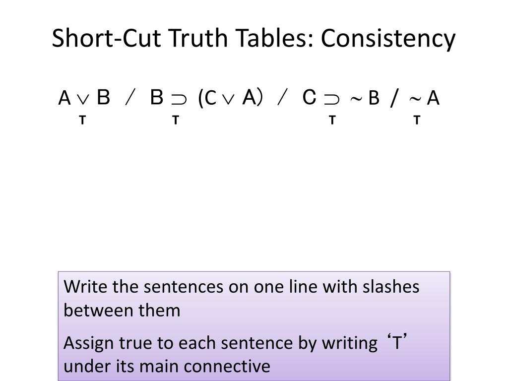 Short-Cut Truth Tables: Consistency