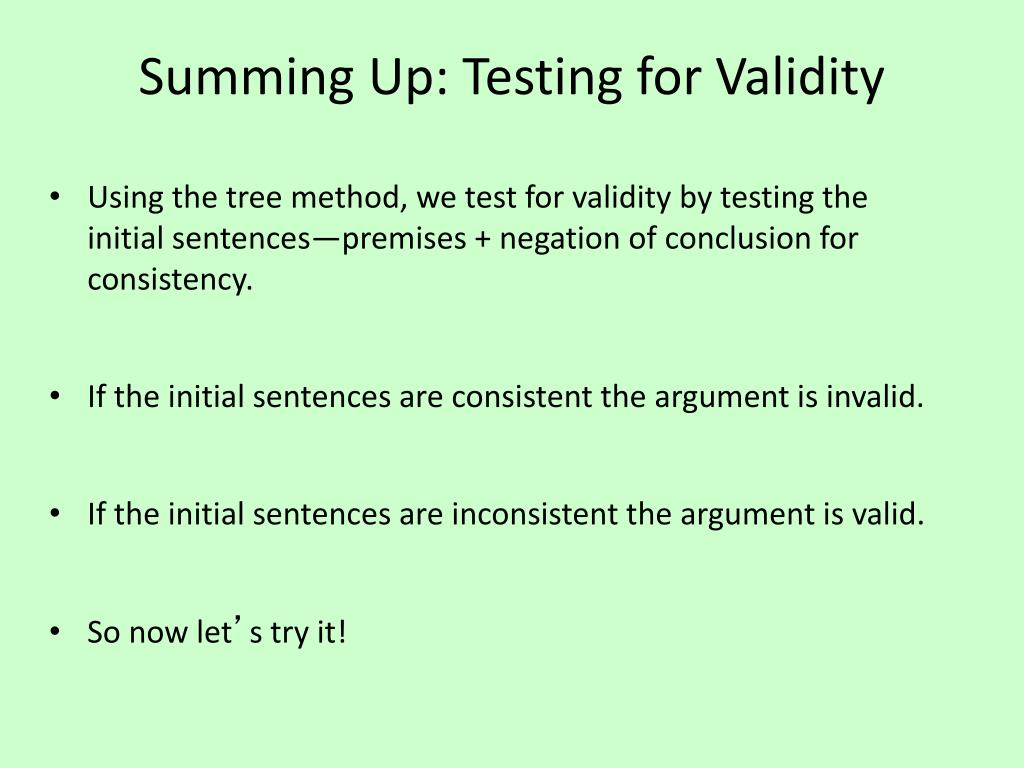 Summing Up: Testing for Validity