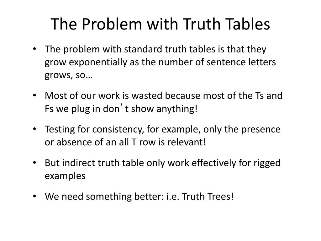 The Problem with Truth Tables