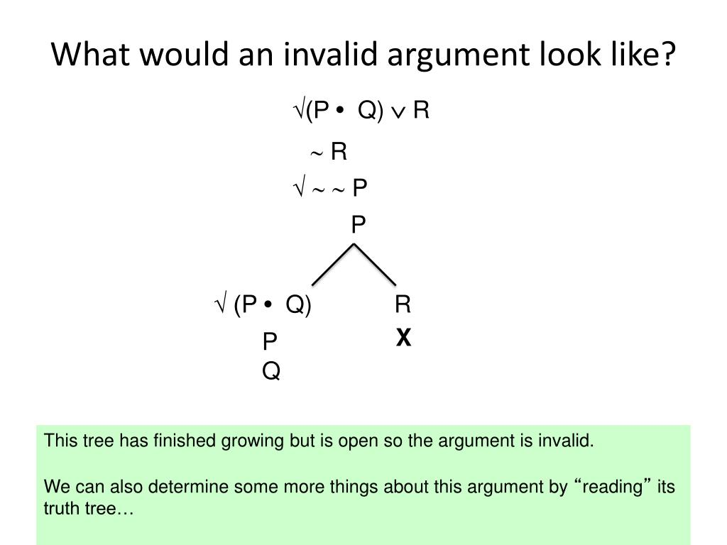 What would an invalid argument look like?