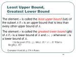 least upper bound greatest lower bound