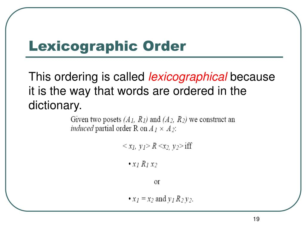 Lexicographic Order