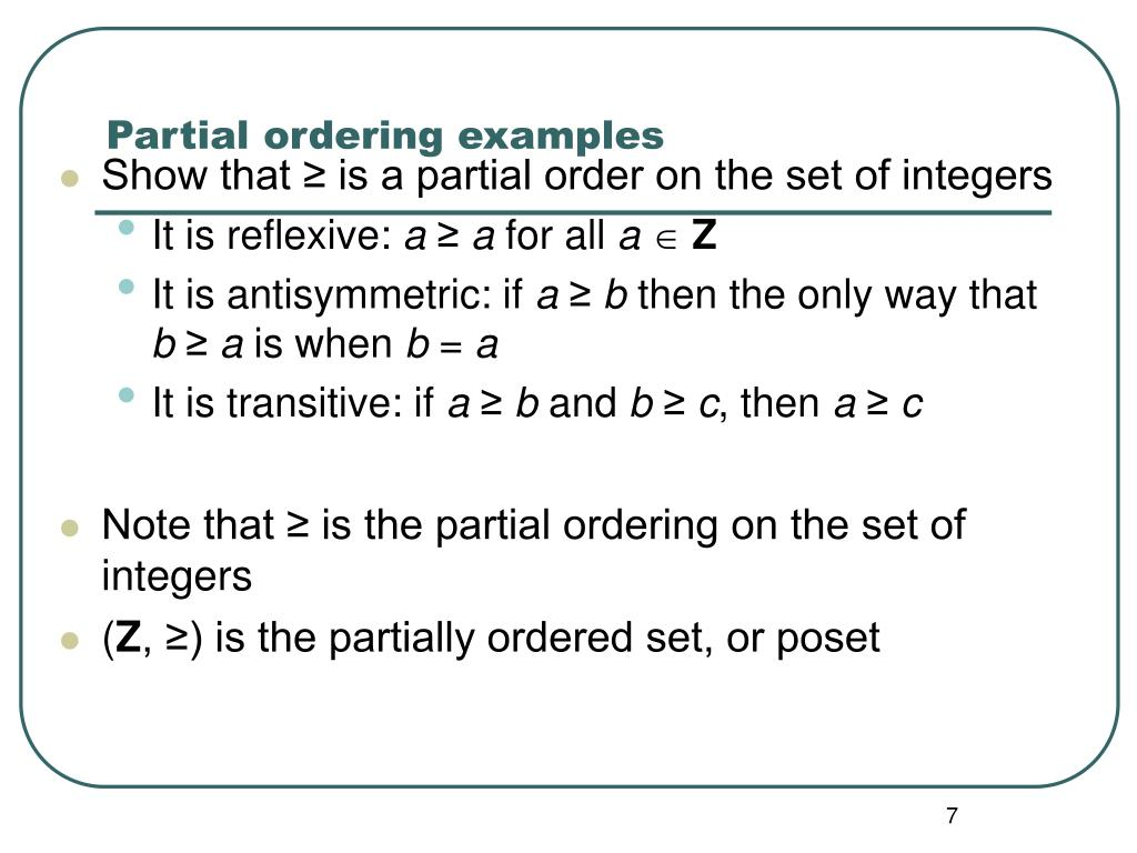 Partial ordering examples