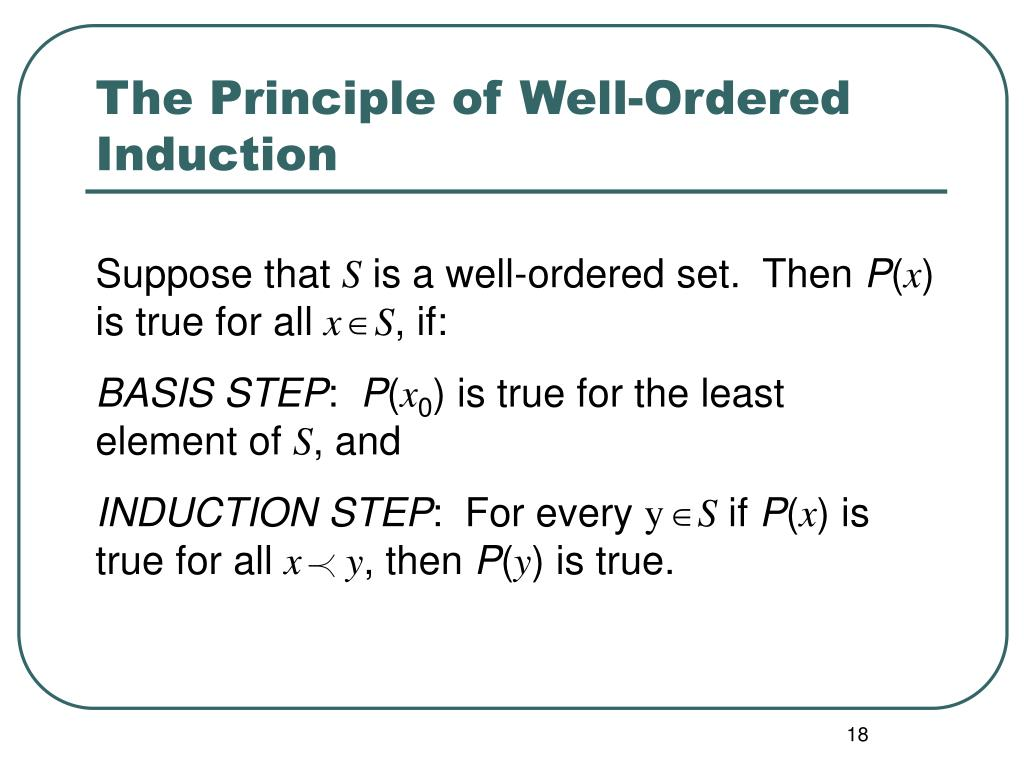 The Principle of Well-Ordered  Induction