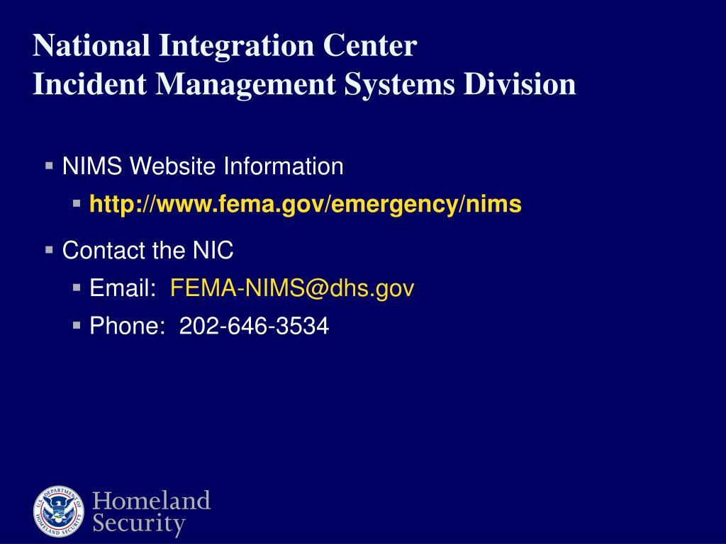 NIMS Website Information