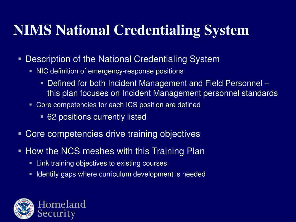 Description of the National Credentialing System