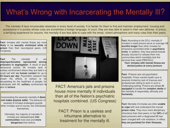 mental illnesses in correctional institutions Mental illness and rehabilitation needs to extend support for inmates with mental illness beyond traditional professional services through creation of specific supportive communities, specialized staff training, inmate peer support programs, care coordination teams, and institutions with specialized mental health missions.