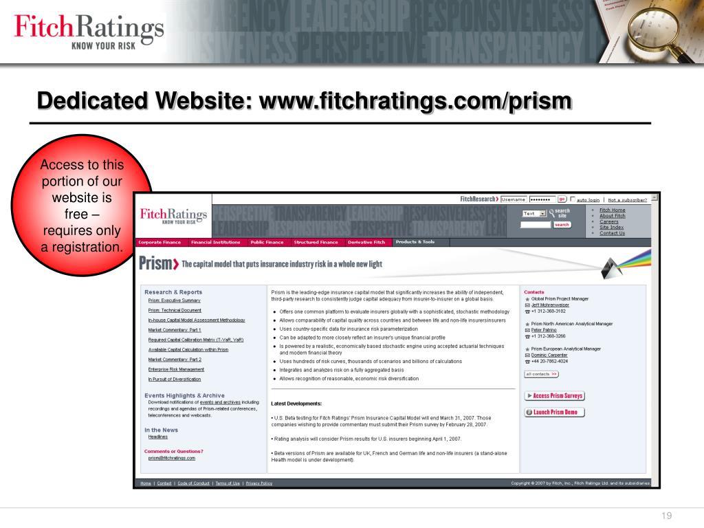 Dedicated Website: www.fitchratings.com/prism