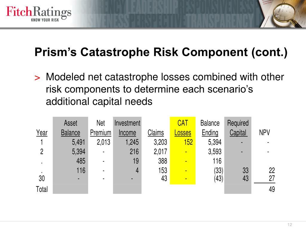 Prism's Catastrophe Risk Component (cont.)