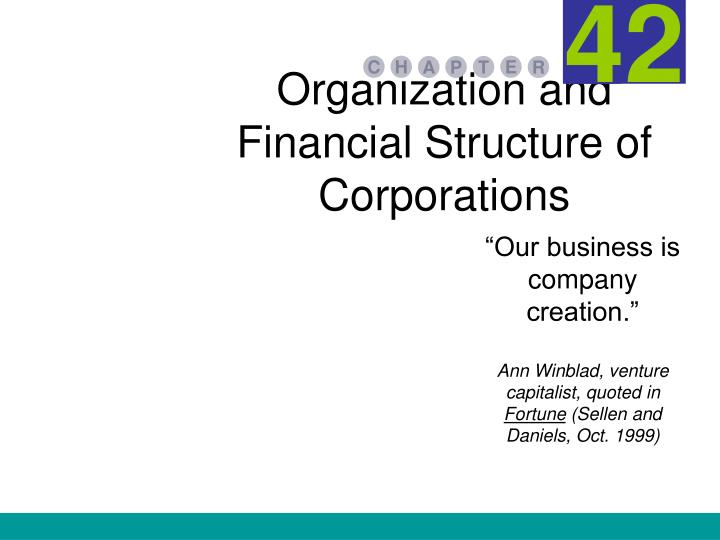 Organization and financial structure of corporations