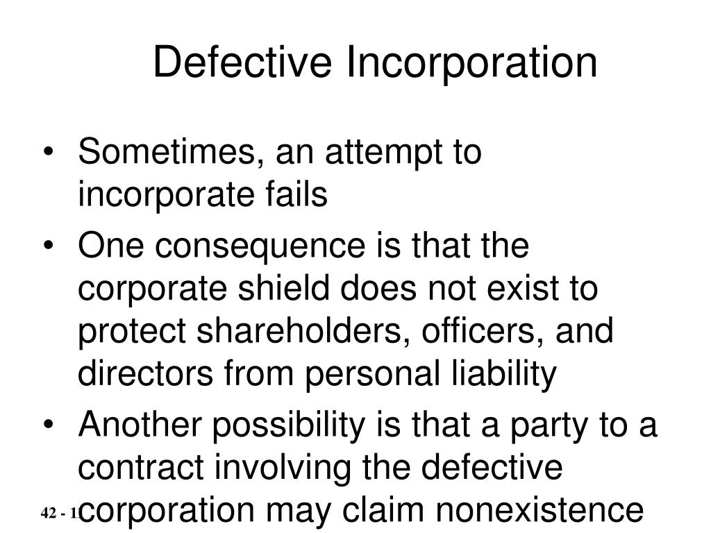 Defective Incorporation