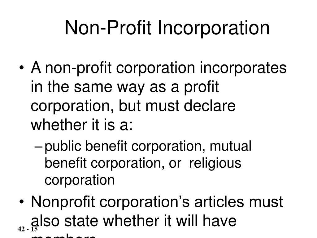 Non-Profit Incorporation