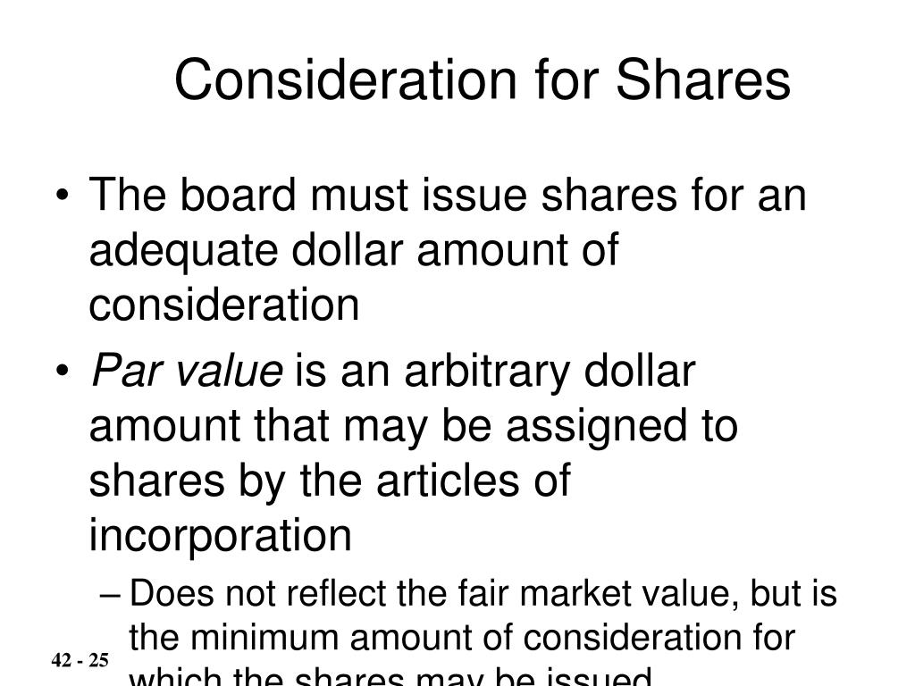 Consideration for Shares