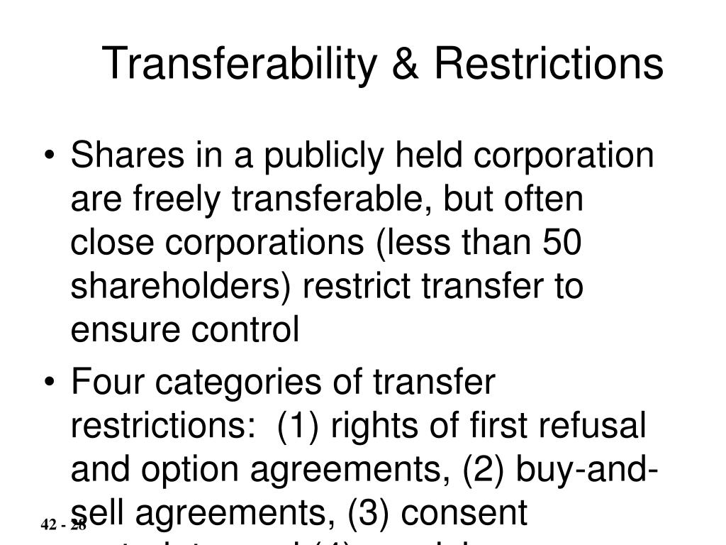 Transferability & Restrictions