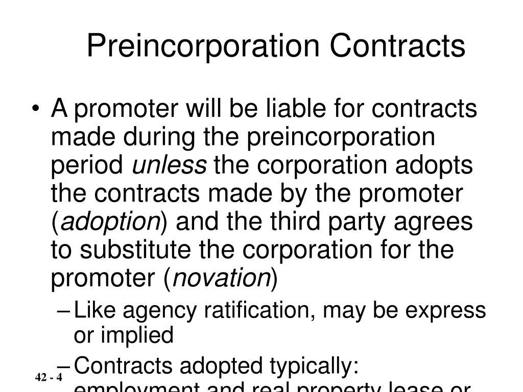 Preincorporation Contracts