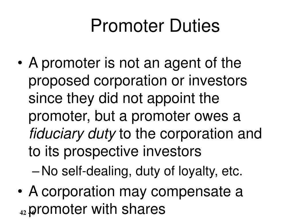 Promoter Duties