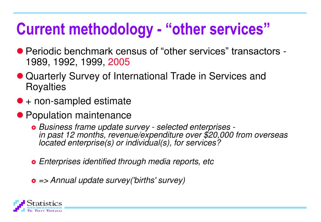 "Current methodology - ""other services"""