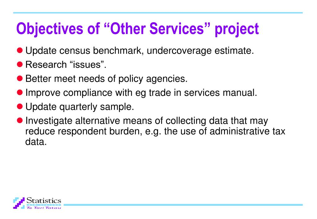 "Objectives of ""Other Services"" project"