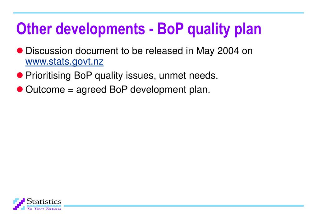 Other developments - BoP quality plan