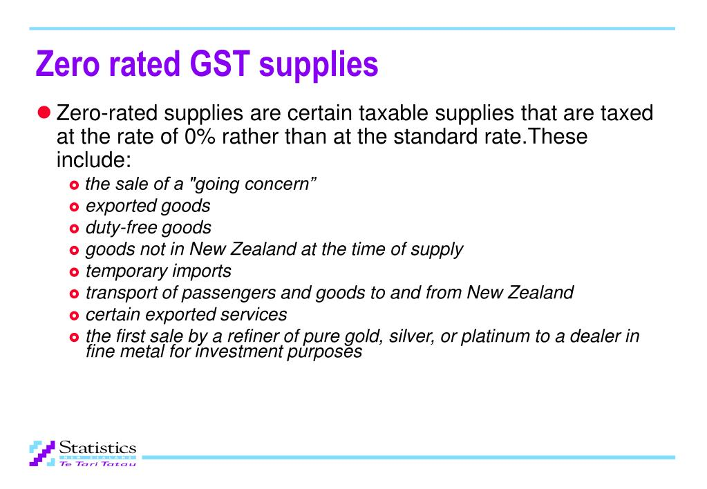 Zero rated GST supplies