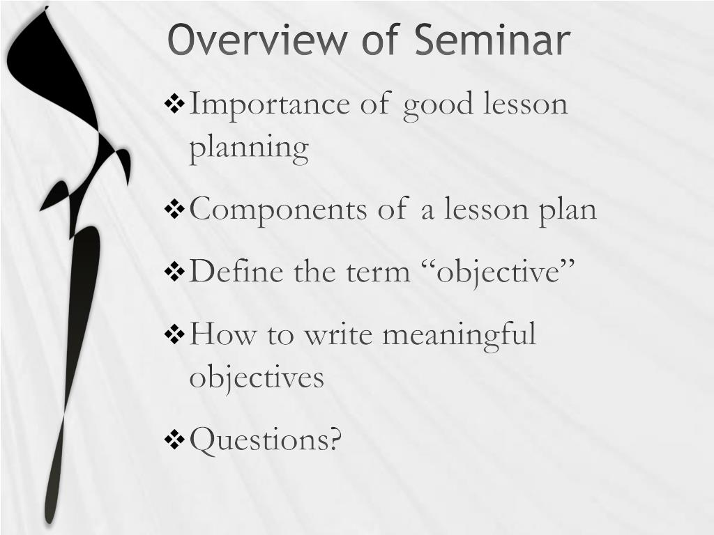 Overview of Seminar