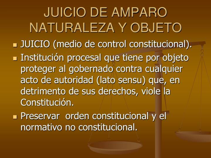 JUICIO DE AMPARO NATURALEZA Y OBJETO
