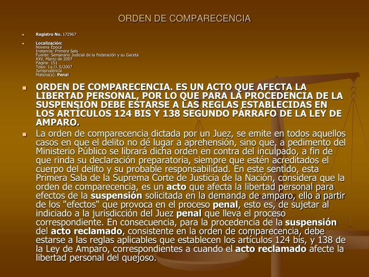 ORDEN DE COMPARECENCIA