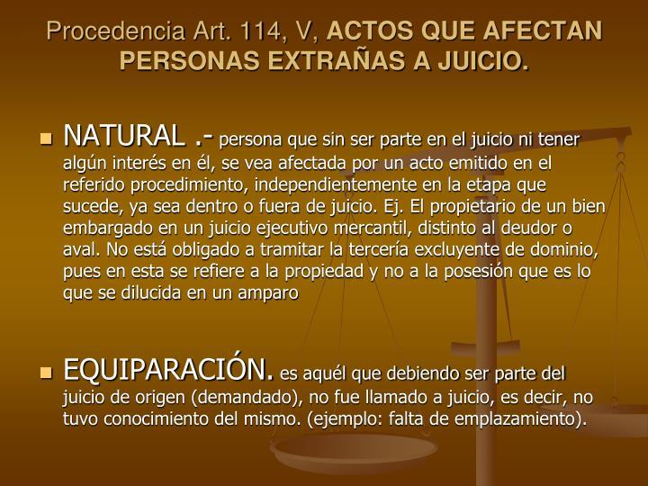 Procedencia Art. 114, V,