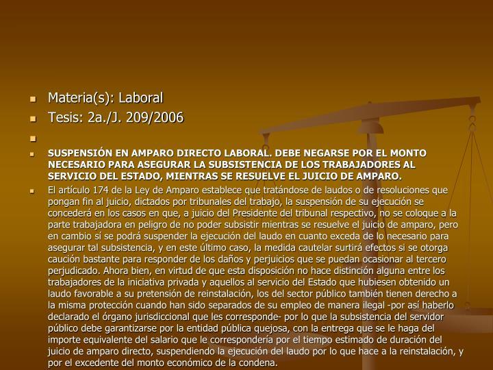 Materia(s): Laboral