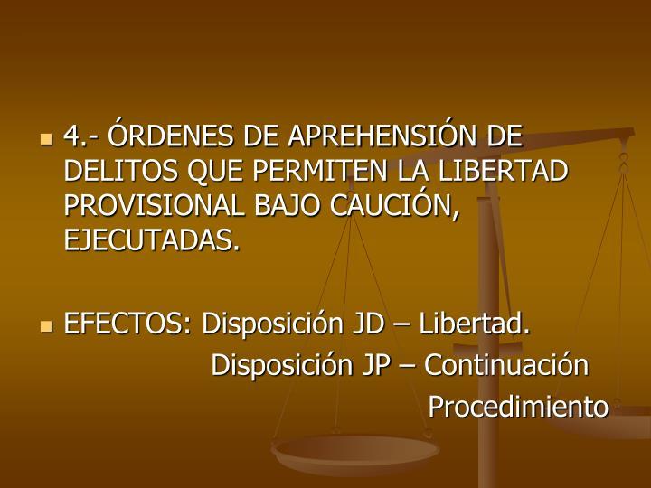 4.- RDENES DE APREHENSIN DE DELITOS QUE PERMITEN LA LIBERTAD PROVISIONAL BAJO CAUCIN, EJECUTADAS.