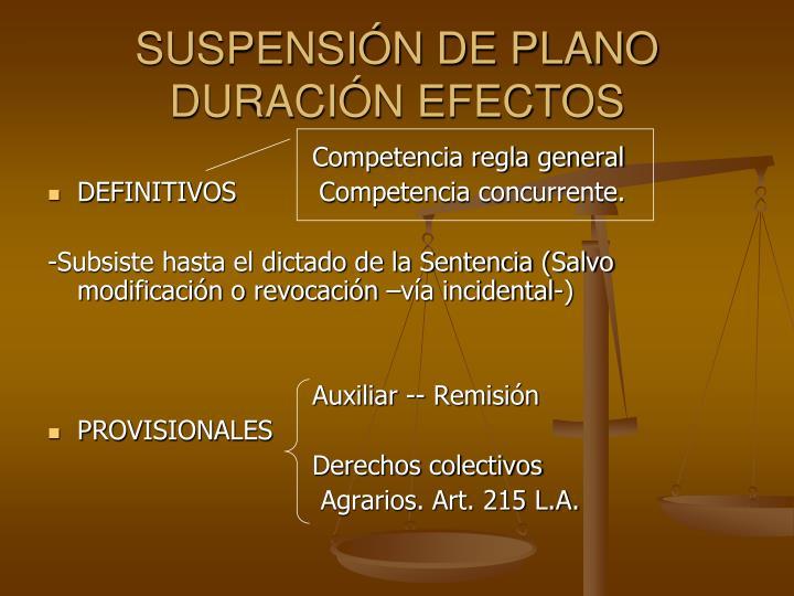 SUSPENSIN DE PLANO