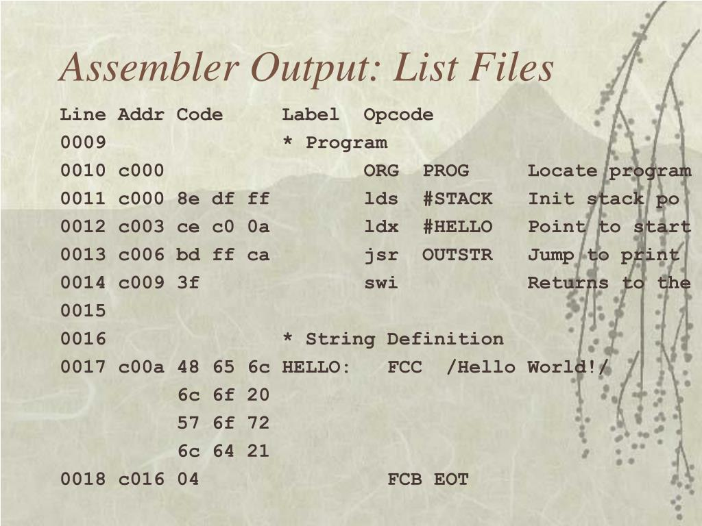 Assembler Output: List Files