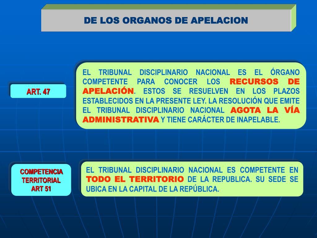 DE LOS ORGANOS DE APELACION