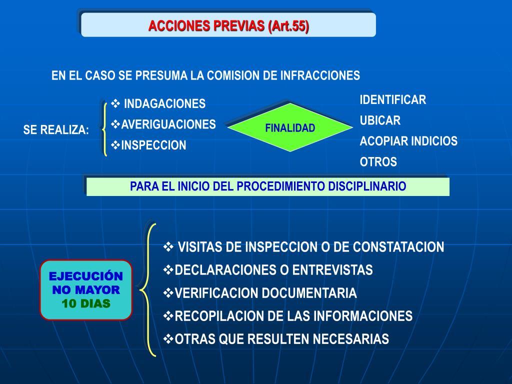 ACCIONES PREVIAS (Art.55)