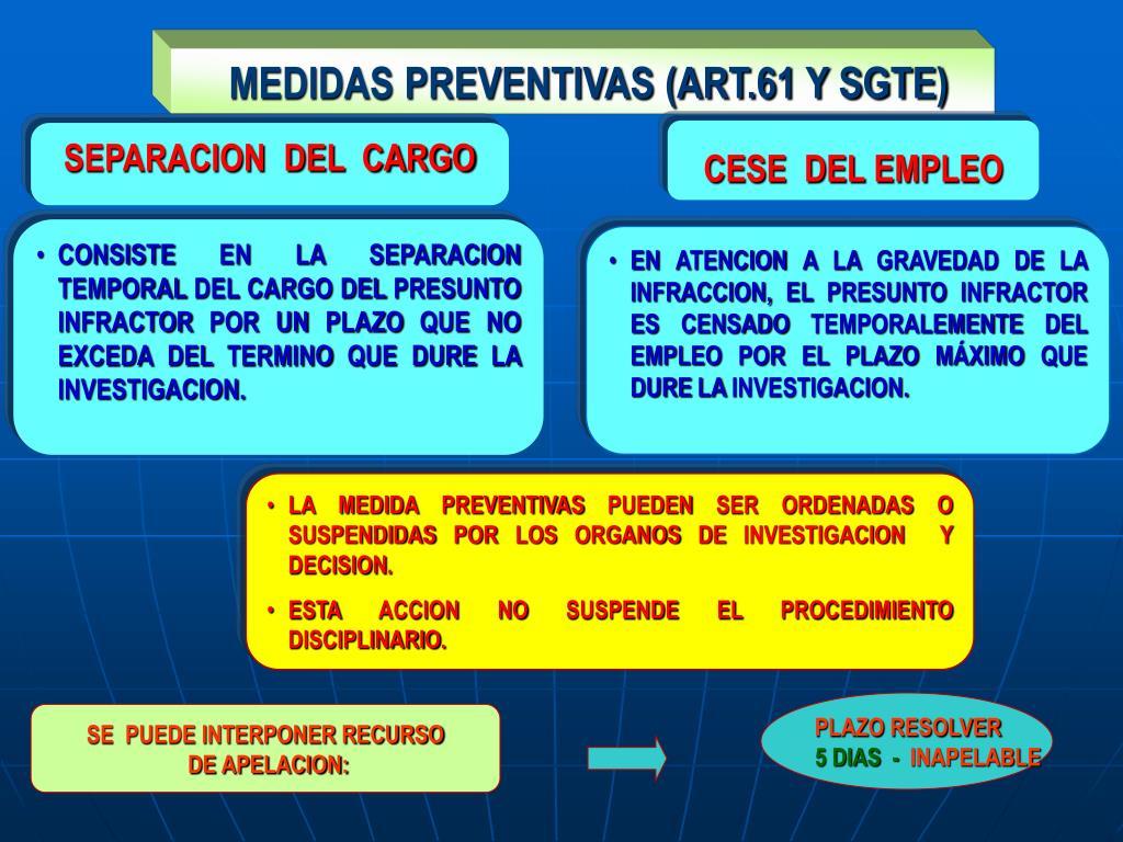 MEDIDAS PREVENTIVAS (ART.61 Y SGTE)