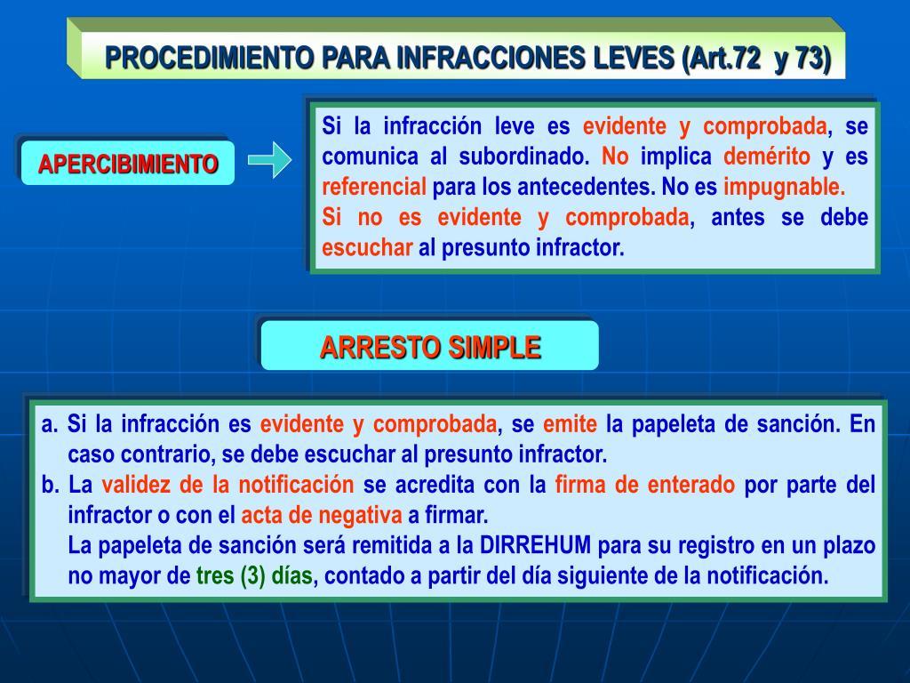 PROCEDIMIENTO PARA INFRACCIONES LEVES (Art.72  y 73)