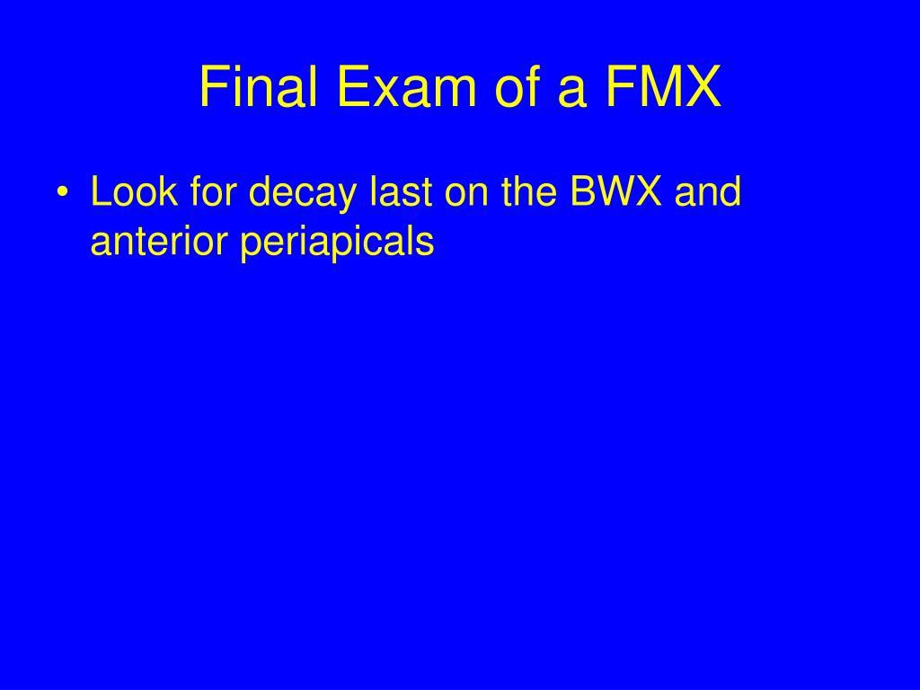 Final Exam of a FMX