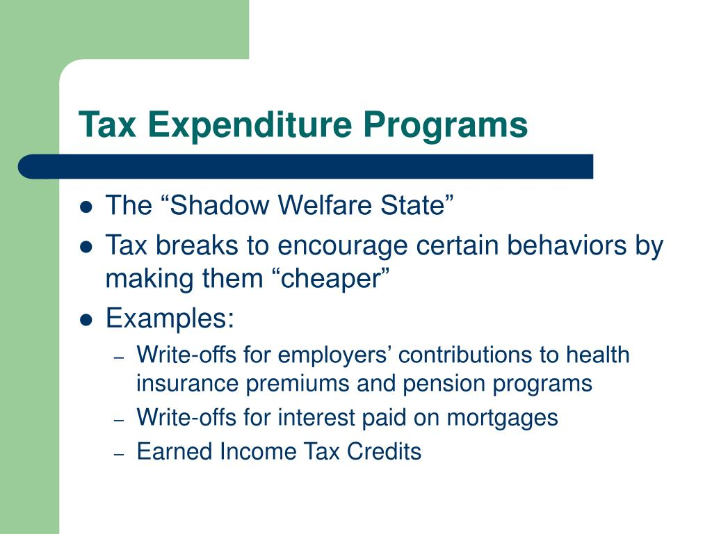 Tax Expenditure Programs