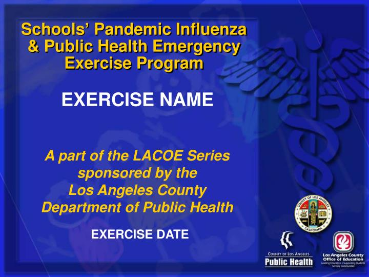 Schools pandemic influenza public health emergency exercise program