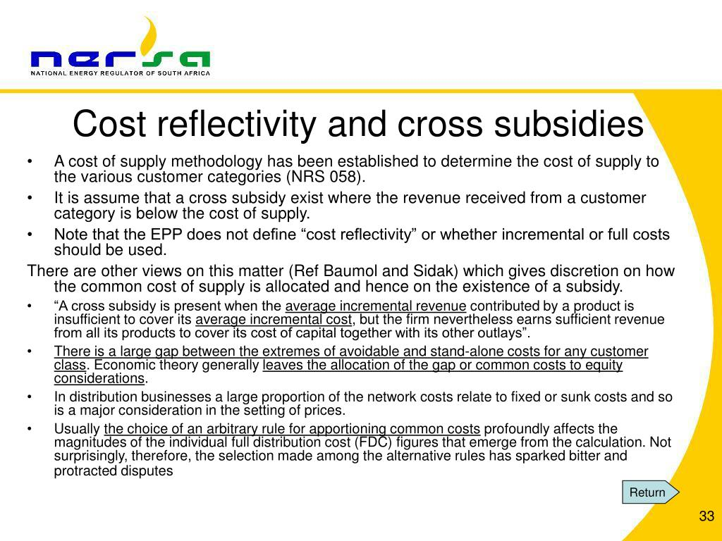 Cost reflectivity and cross subsidies