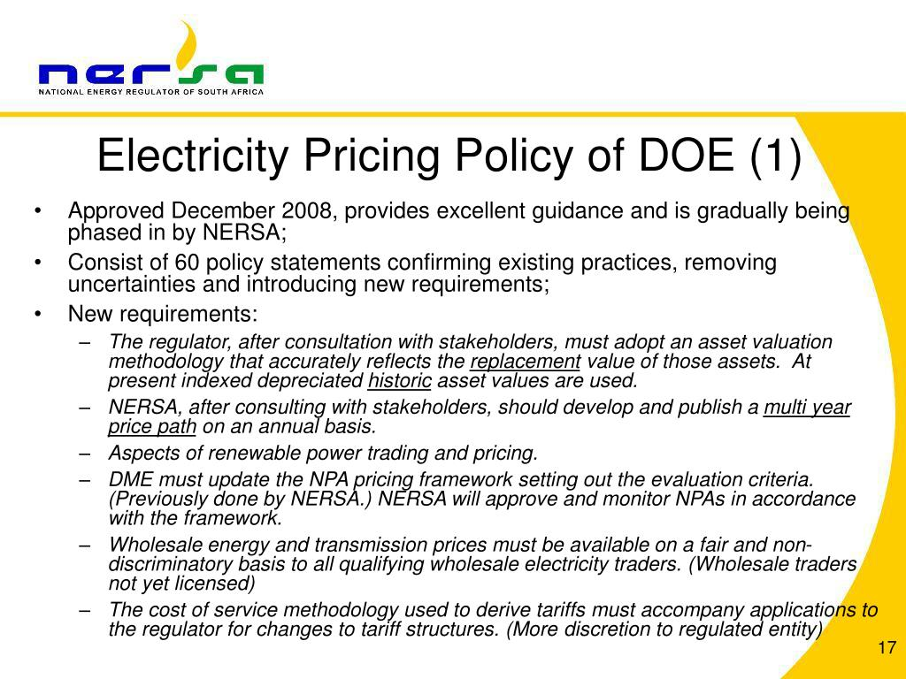 Electricity Pricing Policy of DOE (1)