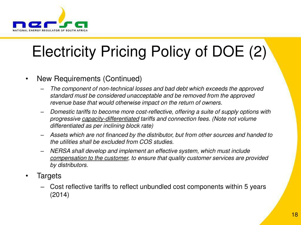 Electricity Pricing Policy of DOE (2)