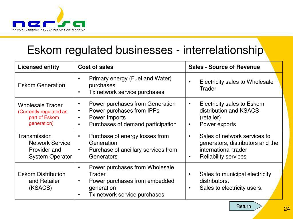 Eskom regulated businesses - interrelationship